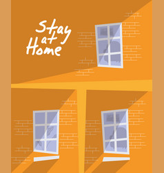 House buildings stay at home campaign vector