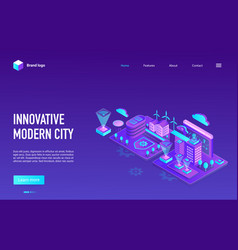 innovative modern city landing page map vector image