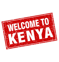 kenya red square grunge welcome to stamp vector image