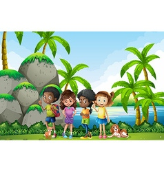 Kids going picnis in nature vector