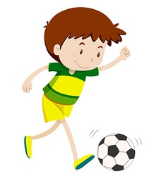 Little boy playing football vector