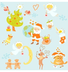 Love Christmas set vector image