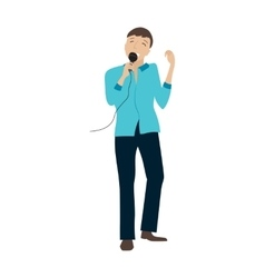 Man singing into microphone vector image