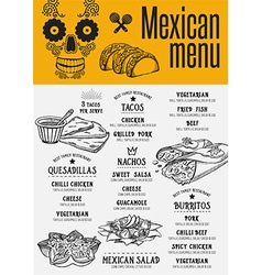 Menu mexican restaurant template placemat vector