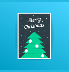 merry christmas card with xmas tree and balls vector image