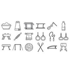modern gymnastics equipment icons set outline vector image