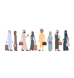 Muslim people crowd business man and woman vector