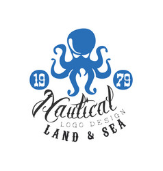 Nautical logo design land and sea retro emblem vector