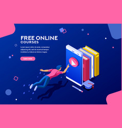 online courses web page banner vector image