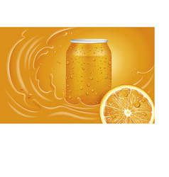 orange juice can slice and orange splash vector image