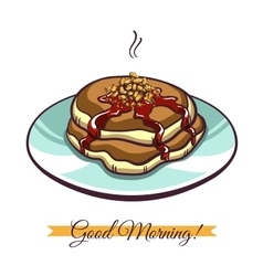 Pancakes With Nuts And Jam vector image