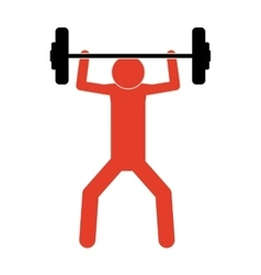 Pictogram colorful with man weightlifting medium vector