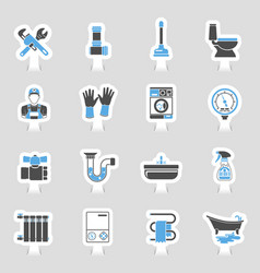 plumbing service icons sticker set vector image