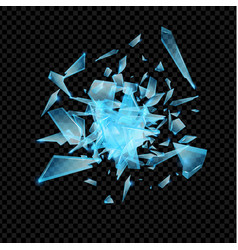 realistic transparent shards broken glass blue vector image