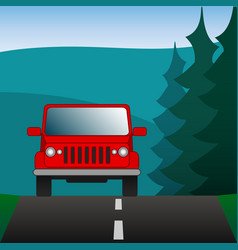 red car suv driving on a forest road sport vector image