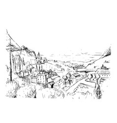 Remarkable georgian landscape sketch black and vector