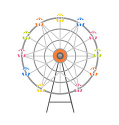 Revolving wheel with passenger cars isolated vector