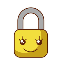 Safe secure padlock kawaii character vector