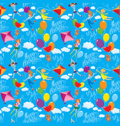 Seamless pattern with clouds colorful balloons vector