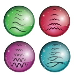set of buttons with a Christmas tree vector image