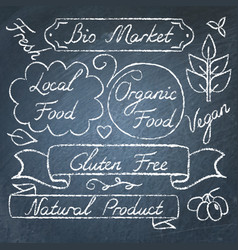 set of eco food lettering on chalkboard vector image