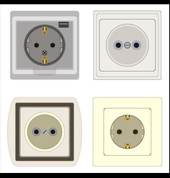 set of electrical outlets vector image