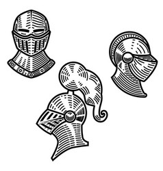 set of knight helmets in engraving style design vector image
