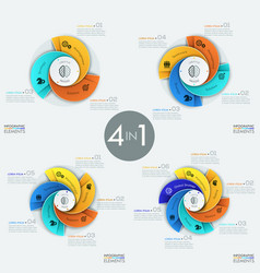 set of modern circular infographic design vector image