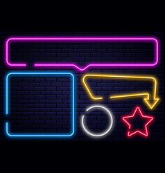 set of neon signs arrow rectangle square circle vector image