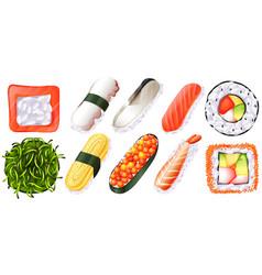set of sushi on white background vector image