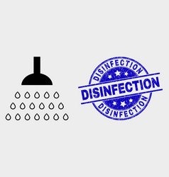 Shower icon and grunge disinfection vector