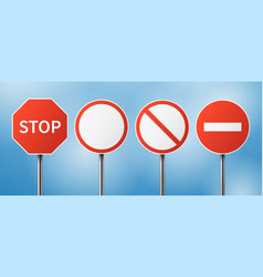 stop road sign blank street traffic danger vector image