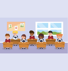 Students children in the classroom with school vector