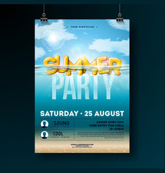 summer beach party flyer design with 3d vector image
