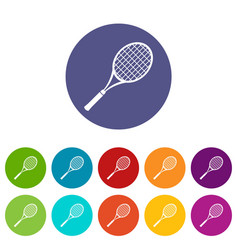 tennis racket icons set color vector image