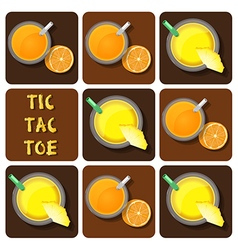 Tic-Tac-Toe of pineapple juice and orange juice vector image