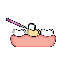 Tooth care with dentistry hook vector