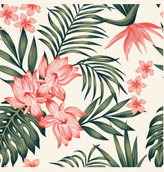 tropical composition leaves flowers white vector image