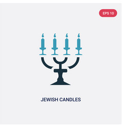 Two color jewish candles icon from religion vector