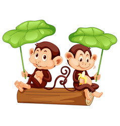 Two cute monkeys on log with green leaves vector