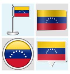 Venezuela flag - sticker button label flagstaff vector image
