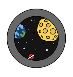 view from the rocket window into the space with vector image