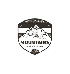 vintage hand drawn mountains emblem the great vector image