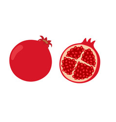 Whole and half pomegranate vector
