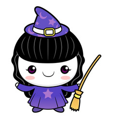 Witch character is holding a broom halloween day vector