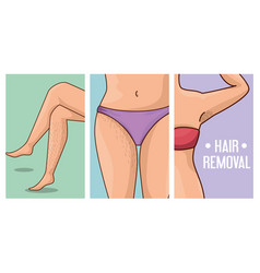 woman body with hair removal icons vector image
