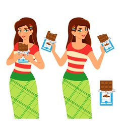 Woman eat chocolate vector image