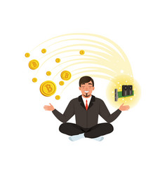 Young businessman meditating in lotus position vector