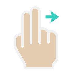 2 finger swipe right flat icon touch and gesture vector image vector image