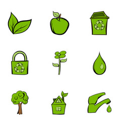 environment protection icons set cartoon style vector image